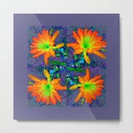 Puce Grey Tropical Red-Orange-Yellow Jungle Flowers Pattern Art Metal Print