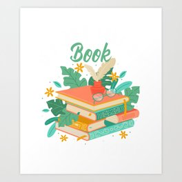 Funny Book Nerd Reading addicted Librarian Fun Art Print