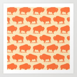 Buffalo Bison Pattern Orange and Yellow Art Print