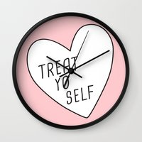 treat yo self Wall Clocks featuring Treat Yo Self by Evelyne van den Broek