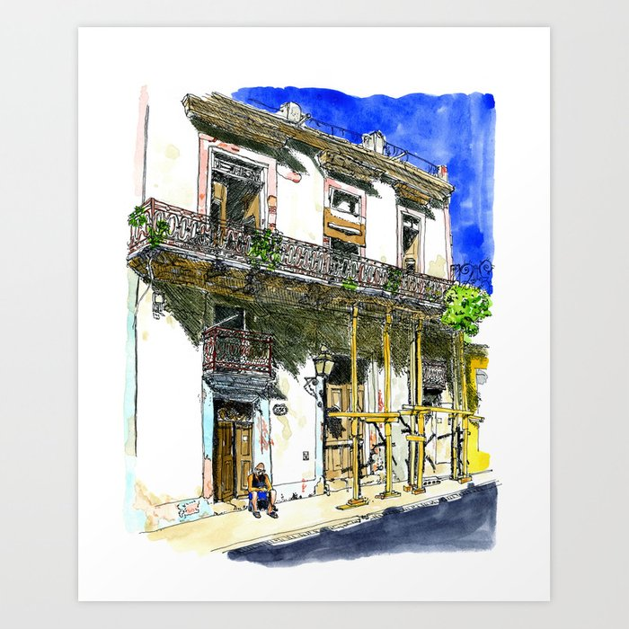 Man Sitting in Front of His House, Habana Vieja, Cuba Art Print