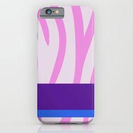 Pink/White Zebra Stripe Pattern w/ Royal Purple/Blue Divider Lines - Abstract Art #ArtofGaneneK iPhone Case