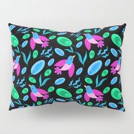 Pretty beautiful cute flying little pink birds, green blue delicate leaves, plants black pattern Pillow Sham