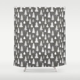 Pine Forest on Dark Linen Shower Curtain