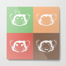 Ice Cream Color Abstract Monkey Face Blocks Metal Print