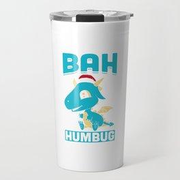 Bah Humbug Dragon Santa Hat Funny Grumpy Scrooge Humor Pun Cool Gift Design Travel Mug
