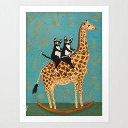 Cats on a Rocking Giraffe Art Print