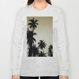 Tropical palm trees on yellow Long Sleeve T-shirt