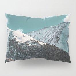 Snowy Mountains Under Teal Sky - Alaska Pillow Sham
