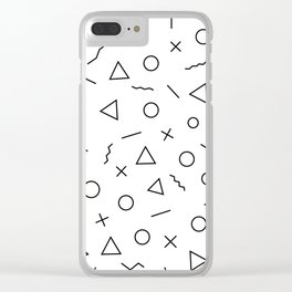 Memphis Geometry ((black on white)) Clear iPhone Case