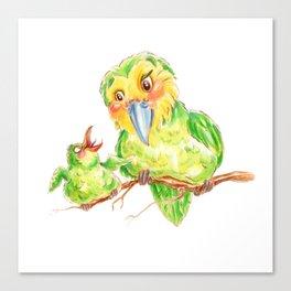 Kakapo and chick Canvas Print