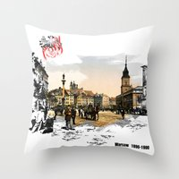 poland Throw Pillows featuring Poland, Warsaw 1890-1900 by viva la revolucion