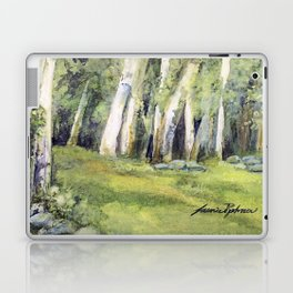 Woodland Landscape Watercolor Vermont Painting Birch Trees Spring Fields Laptop & iPad Skin