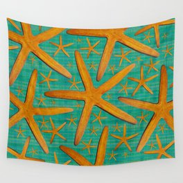 """""""Starfish in Turquoise and Mustard"""" Wall Tapestry"""