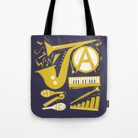 jazz Tote Bags featuring Jazz by Veronica S