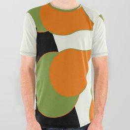 Mid-Century Modern Art 1.4 - Green & Orange Flower All Over Graphic Tee