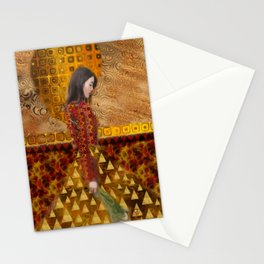 Woman in Red and Gold Stationery Cards