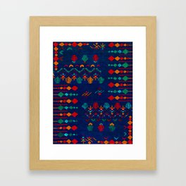 -A17- Anthropologie Moroccan Blue Artwork. Framed Art Print