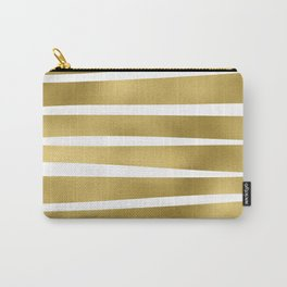 Simply Luxury Gold unequal glitter stripes on clear white - horizontal  pattern Carry-All Pouch