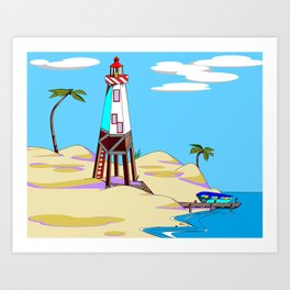 A Lighthouse on the Beach with Palm Trees Art Print