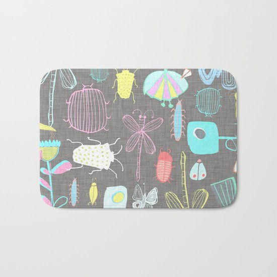 Insect watercolor grey textile texture Bath Mat