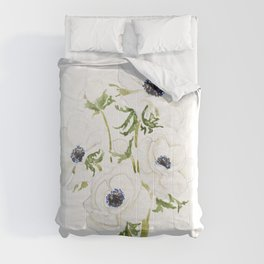 white anemone flower  watercolor painting Comforters