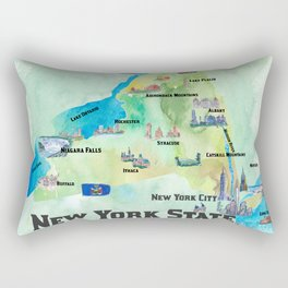 USA New York State Travel Poster Map with tourist highlights Rectangular Pillow
