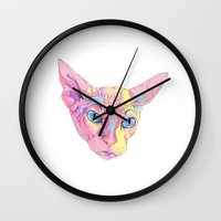 sphynx Wall Clocks featuring sphynx by eeve.st