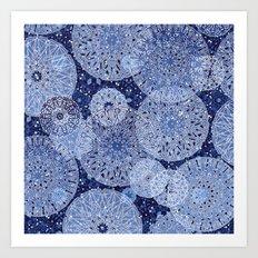Blue Mandala Mix Art Print