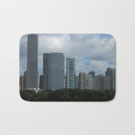 Chicago Skyline, Cloudy Day in Chicago Bath Mat