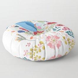 Folk Art Inspired Hummingbird In A Burst Of Springtime Blossoms Floor Pillow