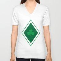 irish V-neck T-shirts featuring Irish Argyle by Fimbis