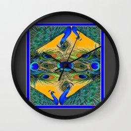 GREY SITTING BLUE PEACOCKS  GOLDEN FEATHER DESIGN Wall Clock