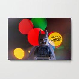 Bat Man Merry Christmas Metal Print