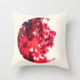 Transparent Red Japanese Maple Round Photo Throw Pillow