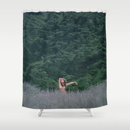 Blurry Greens Shower Curtain