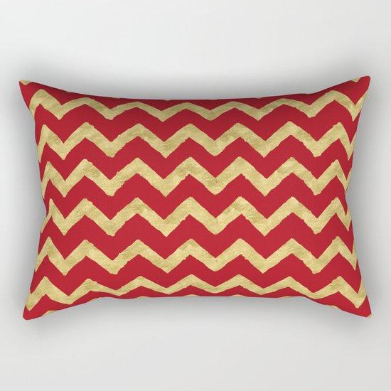 Chevron Red Gold Rectangular Pillow