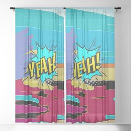 Yeah Pop Art 2 Sheer Curtain
