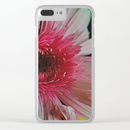 Pink Daisy Sideview Clear iPhone Case
