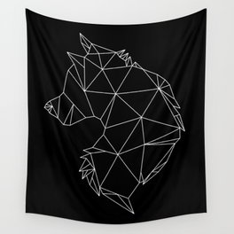 Geometric Wolf (White on Black) Wall Tapestry