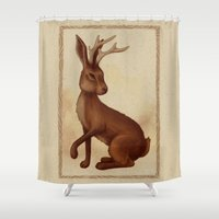 jackalope Shower Curtains featuring Jackalope by Sarah DC