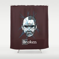 broken Shower Curtains featuring Broken by Mike Handy Art