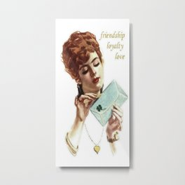 Beautiful Young Woman Holding Love Letter Vintage Vector Metal Print