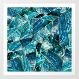 Turquoise Navy Blue Agate Black Gold Geometric Triangles Kunstdrucke