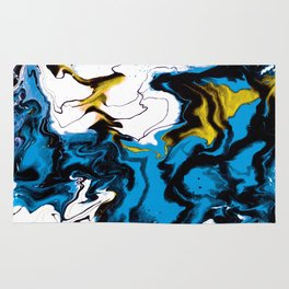 Dreamscape 01 in Blue, White & Gold Rug