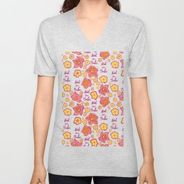 Pink and Yellow Floral 'Not Your Babe' print Unisex V-Neck