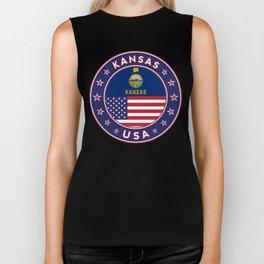Kansas, Kansas t-shirt, Kansas sticker, circle, Kansas flag, white bg Biker Tank