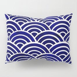 Japanese Seigaiha Wave – Navy Palette Pillow Sham