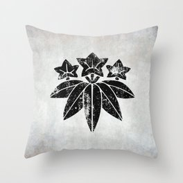 Minamoto Clan · Black Mon · Distressed Throw Pillow