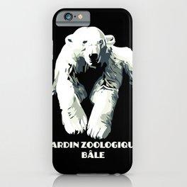 Vintage vector Zoo ad Basel polar bear iPhone Case